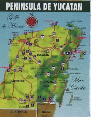 Карта полуострова Юкатан