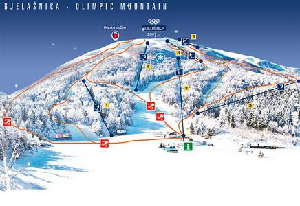 Карта лыжных трасс Белашницы