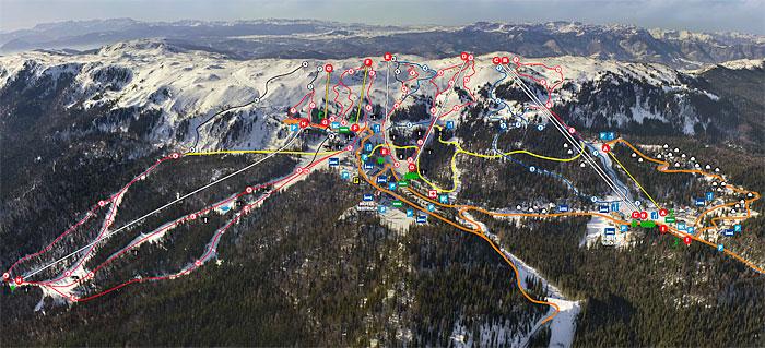 Карта лыжных трасс Яхорины