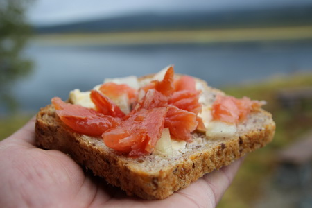 Бутерброд со свежесоленой семгой